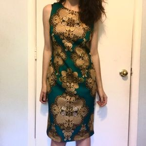 NWOT New York and Company Green and Gold Dress
